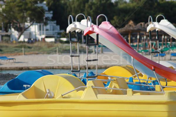 Tekneler plaj su deniz yaz tatil Stok fotoğraf © speedfighter