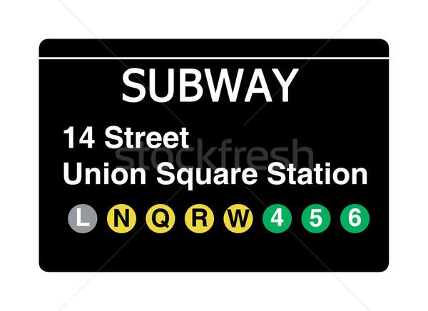 14 Street Union Square Station subway sign Stock photo © speedfighter