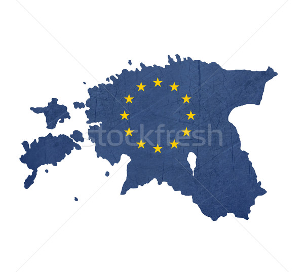 Europeo bandera mapa Estonia aislado blanco Foto stock © speedfighter