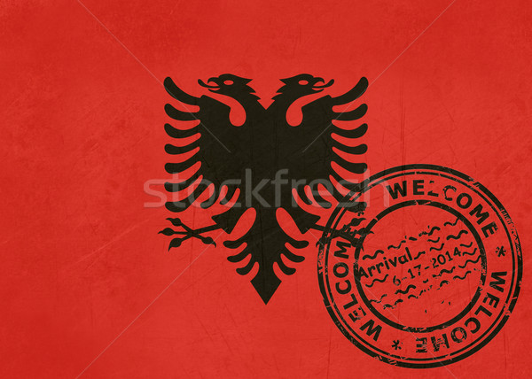 Welcome to Albania flag with passport stamp Stock photo © speedfighter