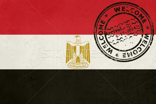 Welcome to Egypt flag with passport stamp Stock photo © speedfighter