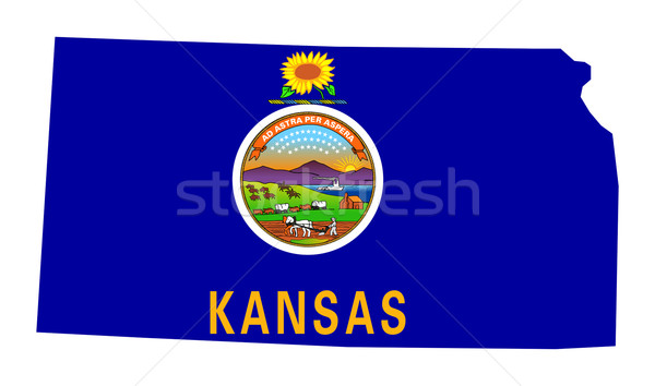 Kansas vlag kaart geïsoleerd witte USA Stockfoto © speedfighter