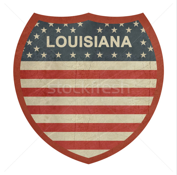 Grunge Louisiana amerikaanse interstate wegteken geïsoleerd Stockfoto © speedfighter