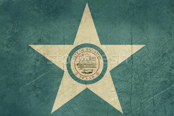 Grunge Houston şehir bayrak ABD seyahat Stok fotoğraf © speedfighter