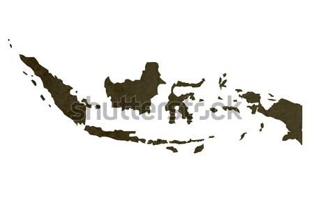 Dark silhouetted map of Indonesia Stock photo © speedfighter