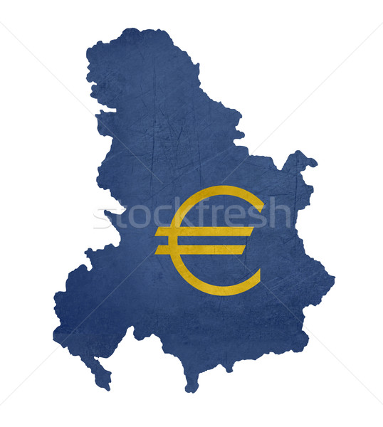 European currency symbol on map of Serbia and Montenegro Stock photo © speedfighter
