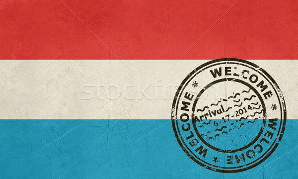Welcome to Luxembourg flag with passport stamp Stock photo © speedfighter