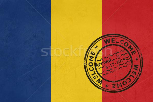 Welkom Roemenië vlag paspoort stempel reizen Stockfoto © speedfighter