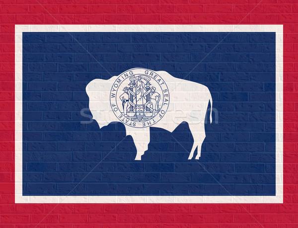 Wyoming bandera pared de ladrillo América aislado blanco Foto stock © speedfighter