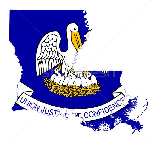 State of Louisiana flag map Stock photo © speedfighter