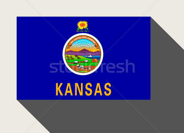Amerikaanse Kansas vlag web design stijl knop Stockfoto © speedfighter