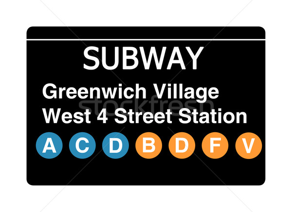 Greenwich Village West 4 Street Station subway sign Stock photo © speedfighter