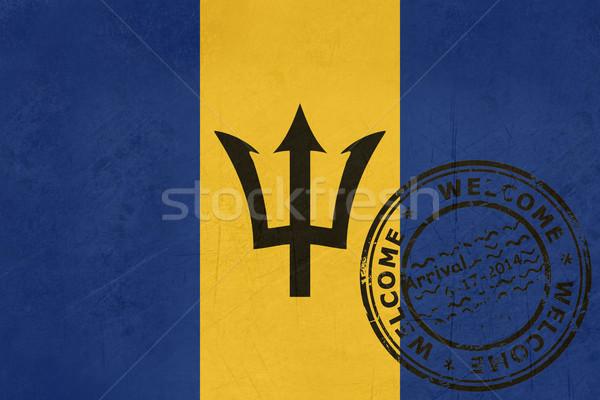 Bienvenue Barbade pavillon passeport tampon Voyage Photo stock © speedfighter
