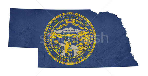 Grunge Nebraska zászló térkép izolált fehér Stock fotó © speedfighter