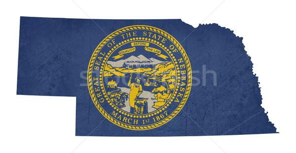 Grunge Nebraska bandeira mapa isolado branco Foto stock © speedfighter