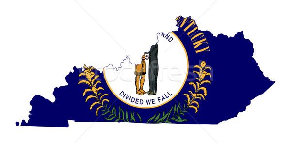 Kentucky bayrak harita yalıtılmış beyaz ABD Stok fotoğraf © speedfighter