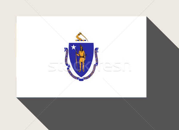 американский Массачусетс флаг веб-дизайна стиль кнопки Сток-фото © speedfighter