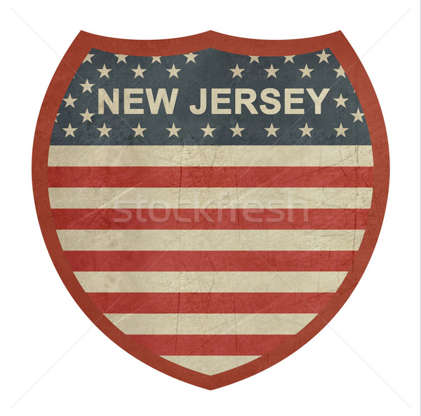 Grunge New Jersey American interstate highway sign Stock photo © speedfighter