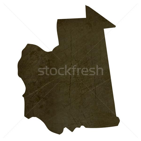 Dark silhouetted map of Mauritania Stock photo © speedfighter