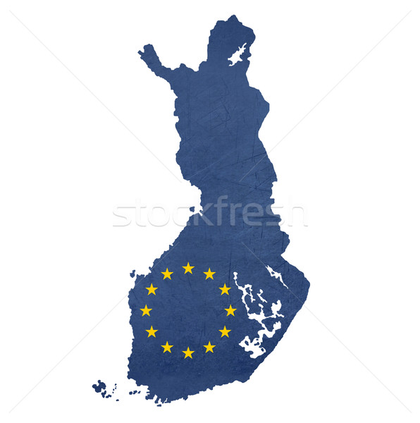 Europeu bandeira mapa Finlândia isolado branco Foto stock © speedfighter