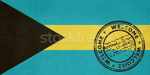 Welcome to Bahamas flag with passport stamp Stock photo © speedfighter