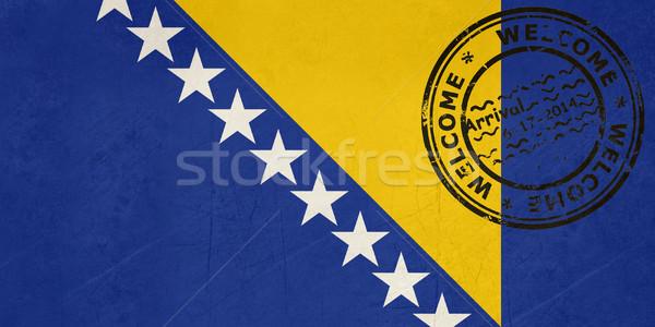 Bienvenida Bosnia Herzegovina bandera pasaporte sello viaje Foto stock © speedfighter