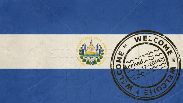 Welcome to El Salvador flag with passport stamp Stock photo © speedfighter