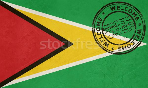 üdvözlet Guyana zászló útlevél bélyeg utazás Stock fotó © speedfighter
