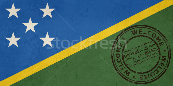 Welcome to Solomon Islands flag with passport stamp Stock photo © speedfighter