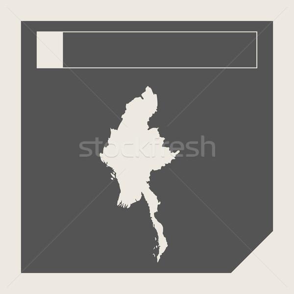 Myanmar kaart knop sympathiek web design geïsoleerd Stockfoto © speedfighter