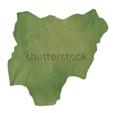 Velho verde papel mapa Nigéria isolado Foto stock © speedfighter