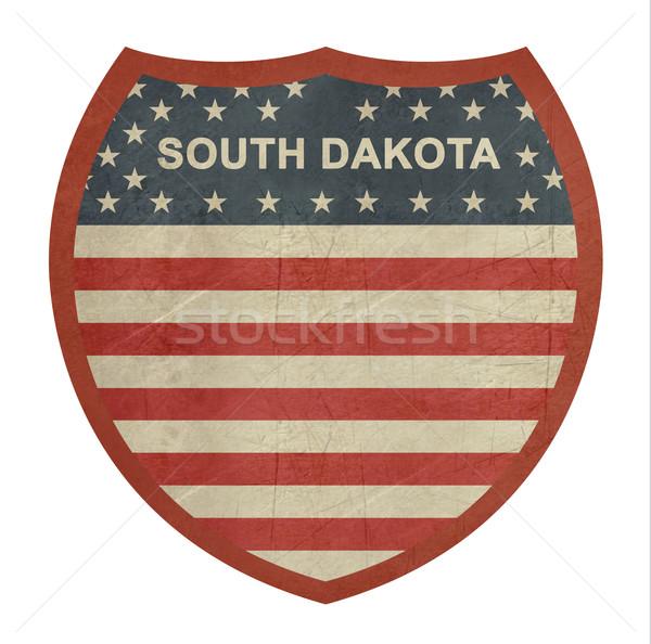 Grunge South Dakota amerikaanse interstate wegteken geïsoleerd Stockfoto © speedfighter