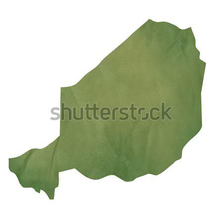 старые зеленый бумаги карта Нигер изолированный Сток-фото © speedfighter