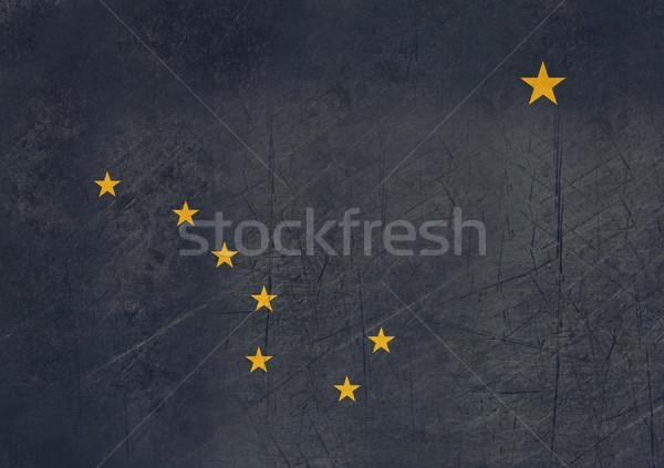 Гранж Аляска флаг Америки изолированный белый Сток-фото © speedfighter