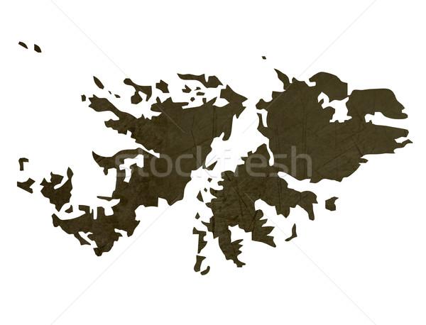 Dark silhouetted map of Falkland Islands Stock photo © speedfighter