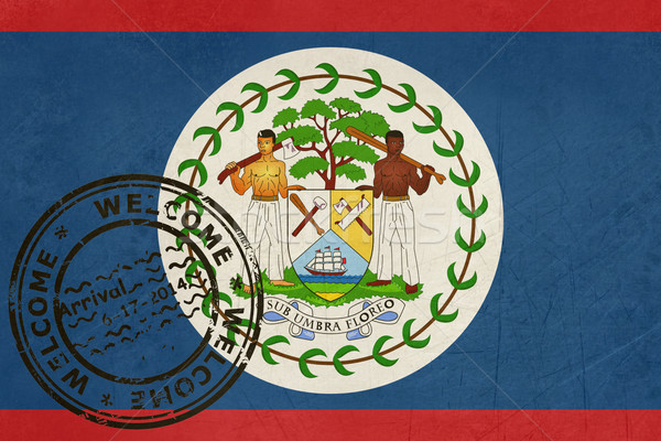 Welcome to Belize flag with passport stamp Stock photo © speedfighter
