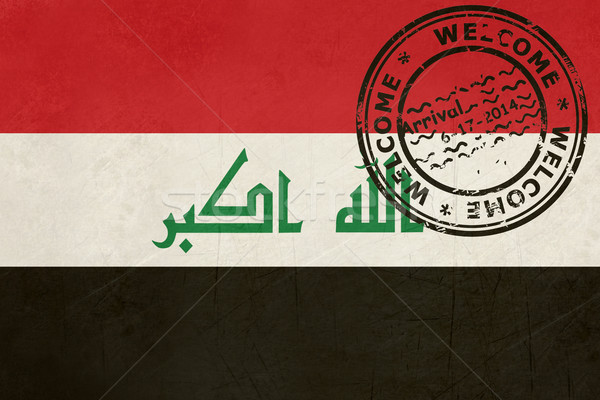 Welcome to Iraq flag with passport stamp Stock photo © speedfighter