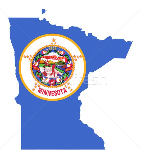 Minnesota bandeira mapa isolado branco EUA Foto stock © speedfighter