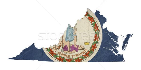 Гранж Виргиния флаг карта изолированный белый Сток-фото © speedfighter