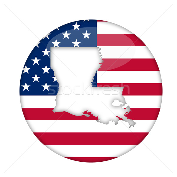 Stock fotó: Louisiana · Amerika · kitűző · izolált · fehér · üzlet