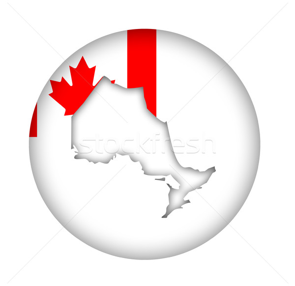 Canada Ontario state map flag button Stock photo © speedfighter