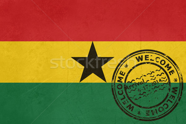 Welcome to Ghana flag with passport stamp Stock photo © speedfighter