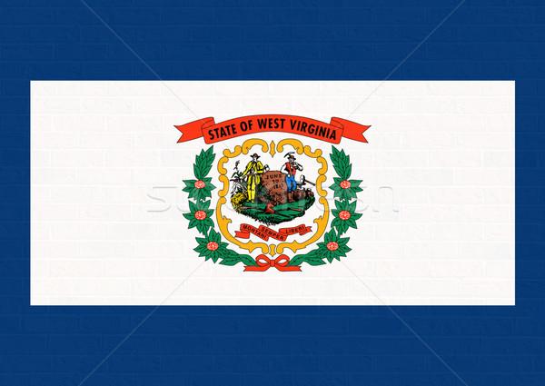 Nyugat-Virginia zászló téglafal Amerika izolált fehér Stock fotó © speedfighter