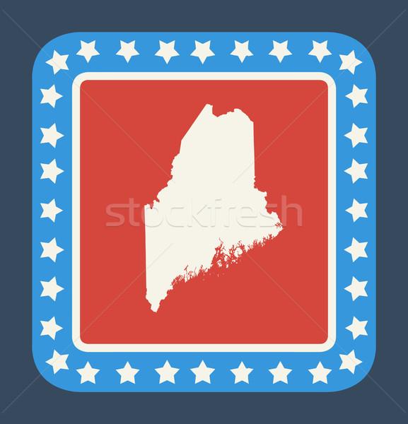 Maine knop Amerikaanse vlag web design stijl geïsoleerd Stockfoto © speedfighter