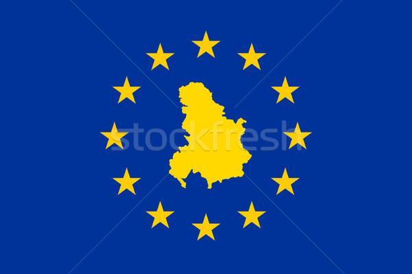 Sırbistan Karadağ avrupa bayrak harita sendika Stok fotoğraf © speedfighter