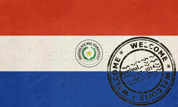 Welcome to Paraguay flag with passport stamp Stock photo © speedfighter