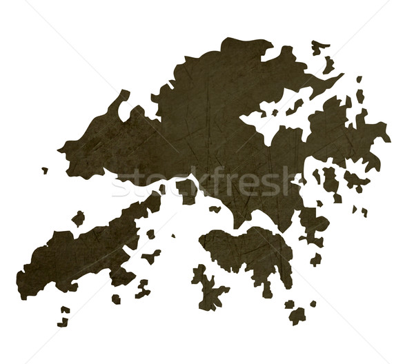 Dark silhouetted map of Hong Kong Stock photo © speedfighter