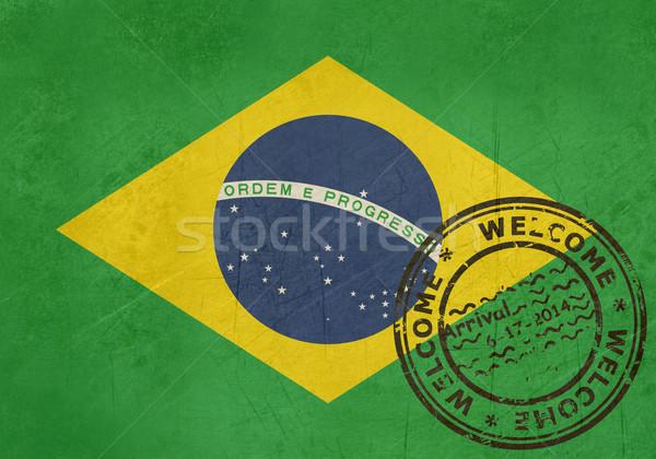 Widziane Brazylia banderą paszport pieczęć podróży Zdjęcia stock © speedfighter
