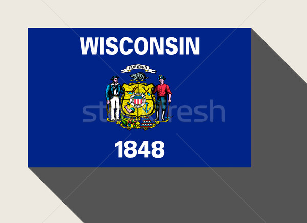 Amerikaanse Wisconsin vlag web design stijl knop Stockfoto © speedfighter
