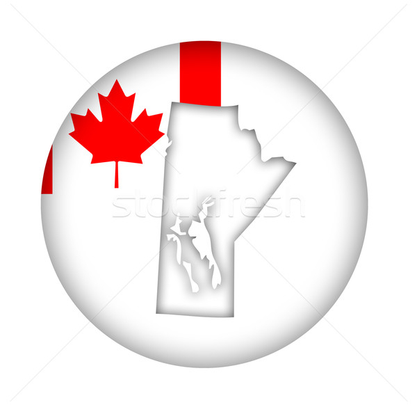 Canada Manitoba state map flag button Stock photo © speedfighter